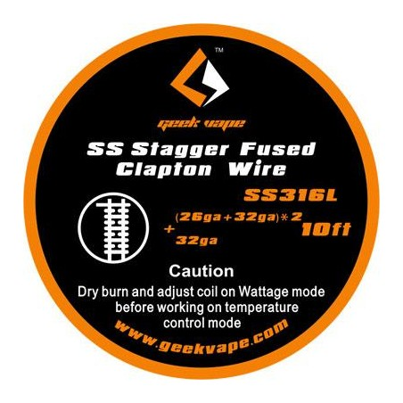 GEEKVAPE - STAGGER FUSED CLAPTON WIRE SS316L - (26GA+32GA)*2+32GA - 10FT (3mt)